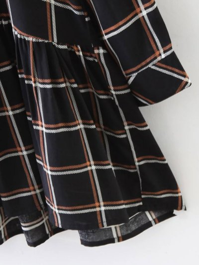 Bow Tie Collar Plaid Dress - CHECKED S Mobile