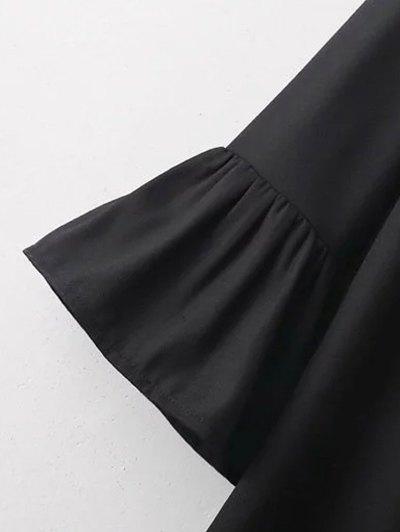 Frilled Embroidered Dress - BLACK L Mobile