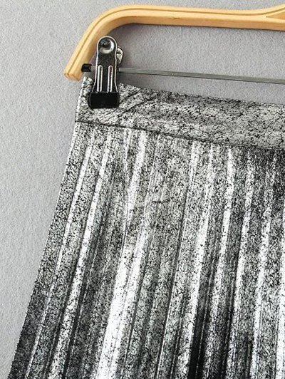 Metallic Color Pleated Skirt - SILVER M Mobile