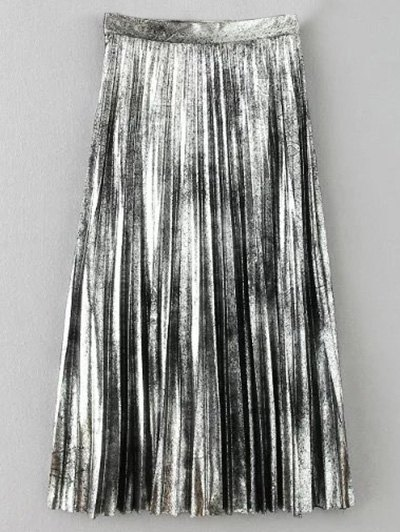 Metallic Color Pleated Skirt - SILVER XS Mobile
