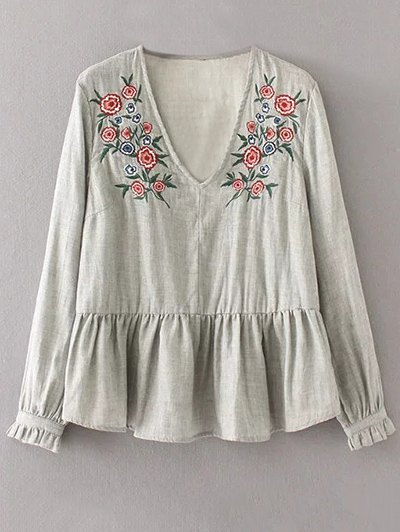 Peplum Hem Embroidered Blouse - GRAY S Mobile