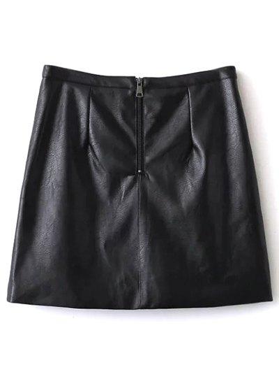 Embroidered PU Leather Mini Skirt - BLACK L Mobile