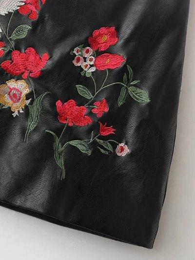 Embroidered PU Leather Mini Skirt - BLACK M Mobile