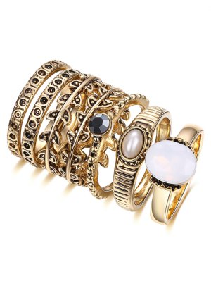 Faux Pearl Leaf Ring Set - Golden