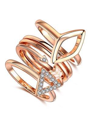 Triangle Rhinestone Ring Set - Rose Gold