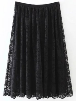 A Line Lace Skirt - Black