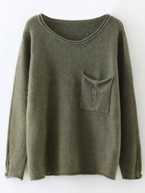 Round Neck Ripped Sweater With Pocket - Sage Green