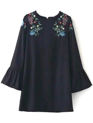 Vestido Con Volantes Bordada - Negro