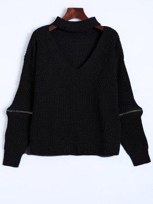 De Gran Tamaño Cuello En V Suéter Gargantilla - Negro