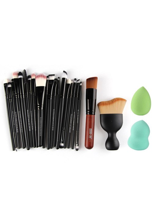 20 Pcs Eye Makeup Brushes Set + Foundation Brush + Blush Brush + Beauty Blenders
