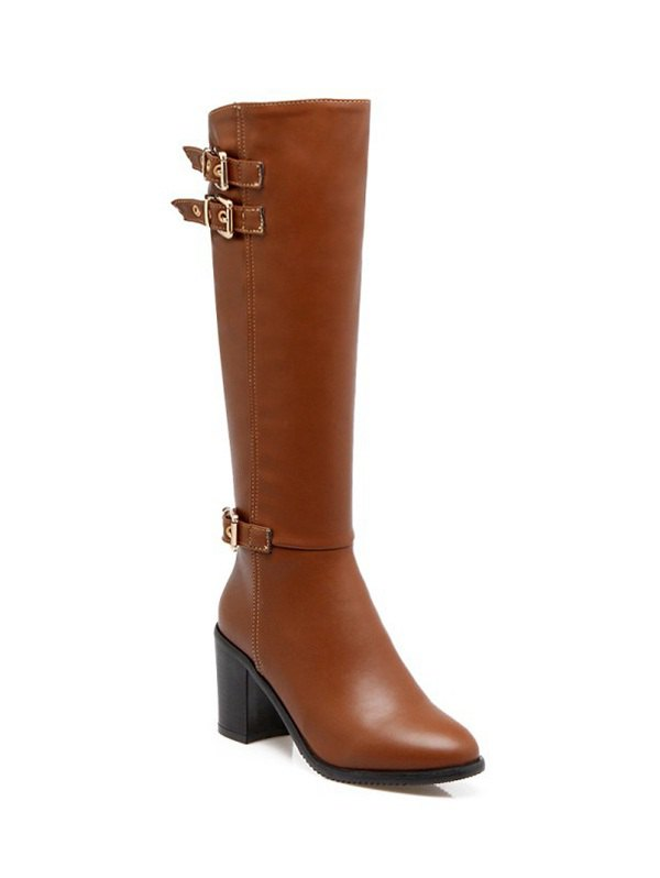 Buckles Chunky Heel Boots