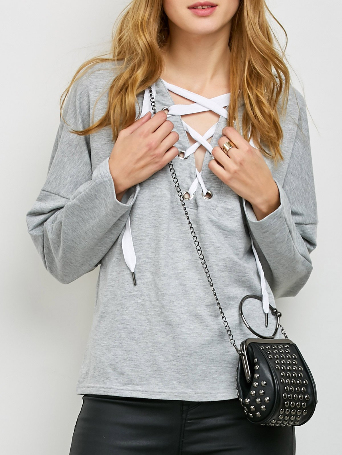 V Neck Lace Up HoodieClothes<br><br><br>Size: S<br>Color: LIGHT GRAY