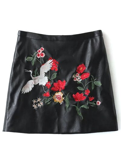Floral Bird Embroidered Skirt