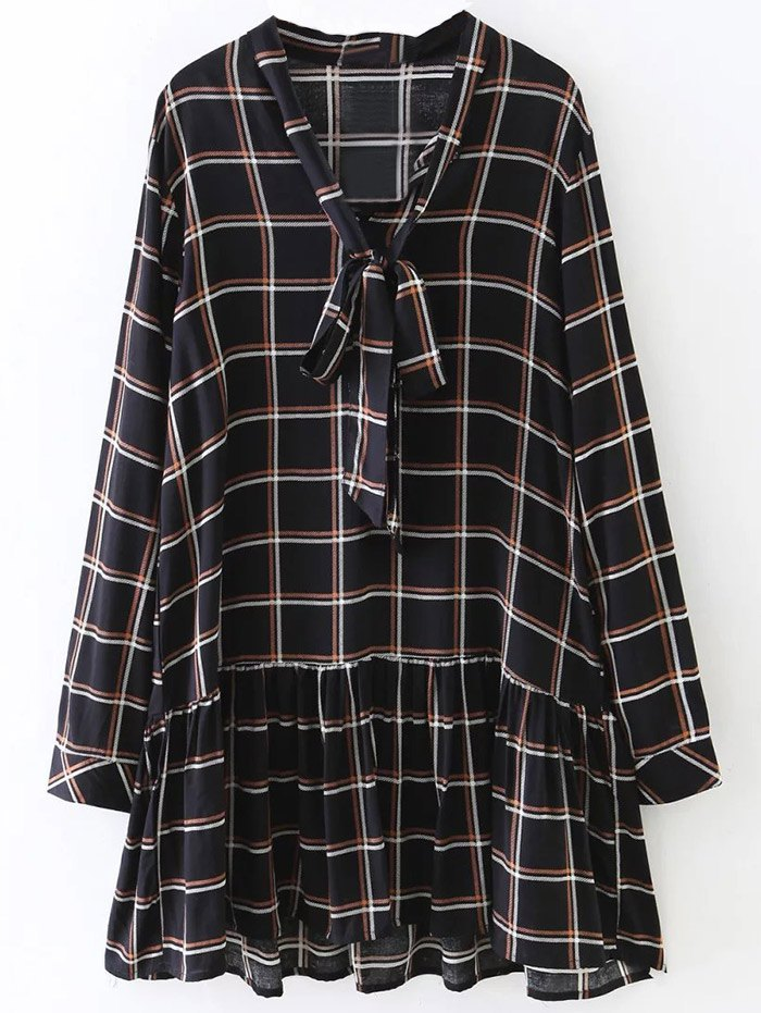 Bow Tie Collar Long Sleeve Checked Dress