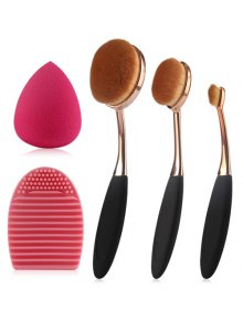 3 Pcs Makeup Brushes Set + Teardrop Makeup Sponge + Brush Egg - Black
