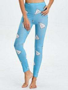 High Waist Skinny Geometric Print Leggings - Lake Blue L