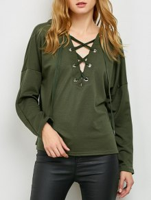 Buy V Neck Lace Hoodie L ARMY GREEN