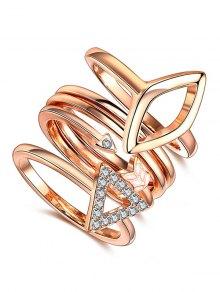 Triangle Rhinestone Ring Set - Rose Gold 7