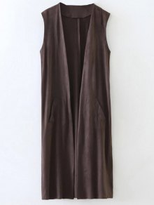 Collarless Side Slit Suede Waistcoat - Coffee