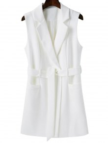 Sleeveless Blazer - White S