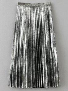 Metálica Falda Plisada De Color - Plata S