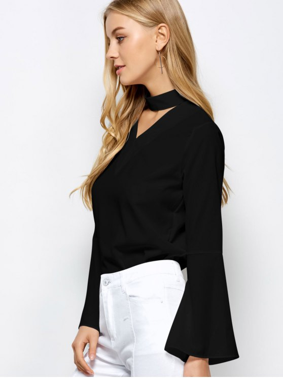 Loose Choker Flare Sleeve Blouse - BLACK L Mobile