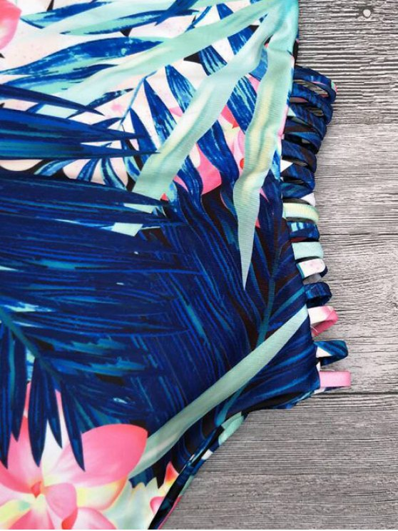 Cut Out Tropical Print One-Piece Swimwear - BLUE S Mobile