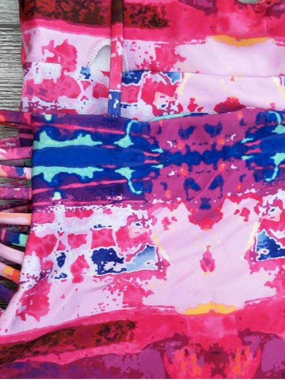 Strappy Tie-Dyed One-Piece Swimwear - RED XL Mobile