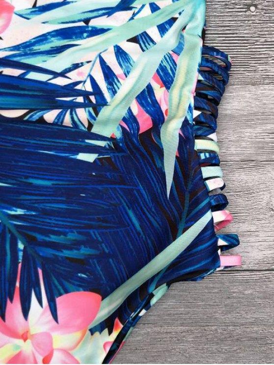 Cut Out Tropical Print One-Piece Swimwear - BLUE XL Mobile