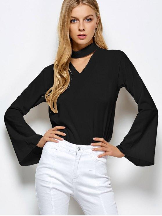 Gargantilla suelta la llamarada de la blusa de la manga - Negro S