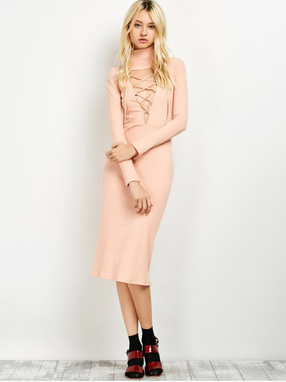 Turtleneck Ribbed Knit Midi Bodycon Dress - PINK ONE SIZE Mobile