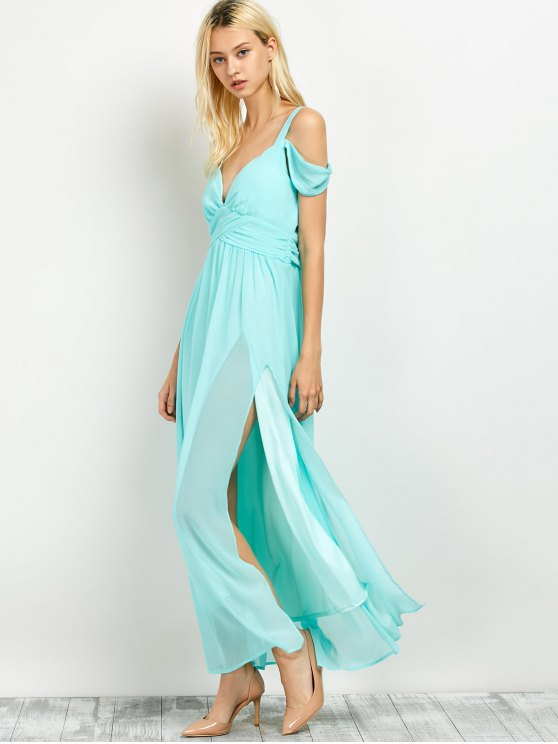 Cold Shoulder Slit Maxi Prom Dress - LIGHT GREEN L Mobile