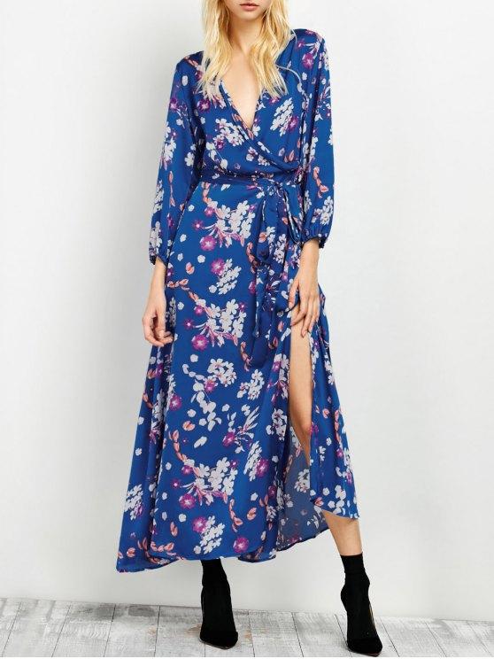 Low Cut Wrap Front Maxi Floral Dress - BLUE 2XL Mobile