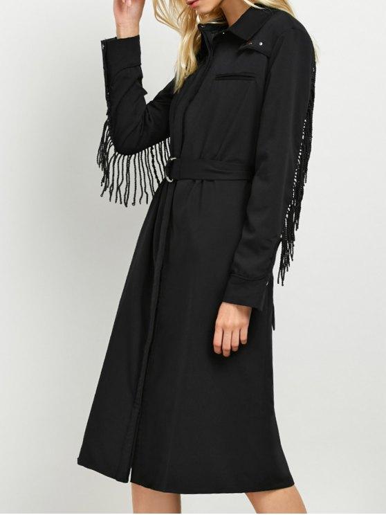 Belted Fringed Shirt Dress - BLACK M Mobile