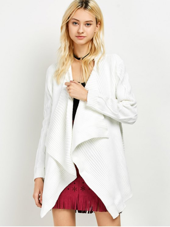 Draped Basket Weave Cable Cardigan - WHITE XL Mobile