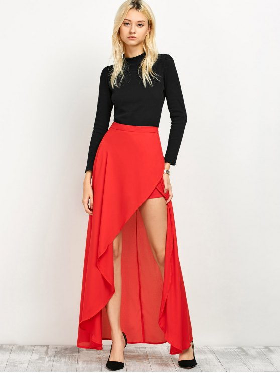 High Low Hem Long Skirt - RED XL Mobile