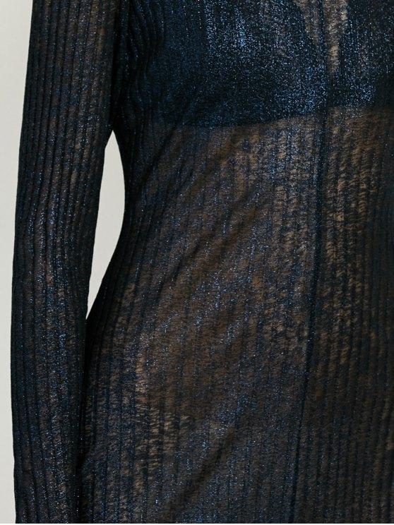 Shimmer Long Dress - PURPLISH BLUE S Mobile