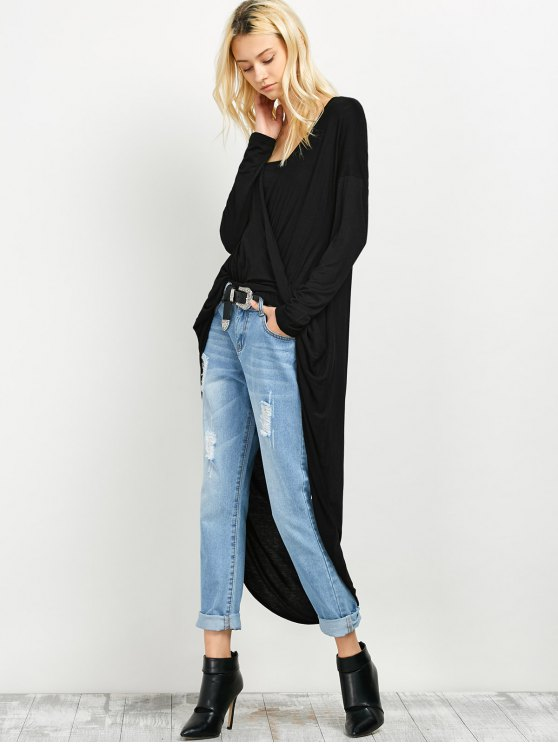 Twist Front High Low Top - BLACK S Mobile