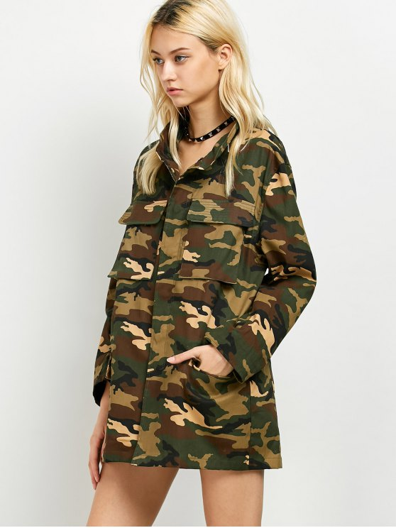 Buttoned Camouflage Jacket - ARMY GREEN XL Mobile
