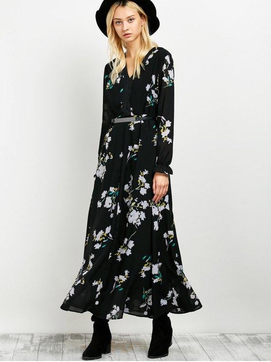 Long Sleeve Maxi Floral Dress - BLACK M Mobile