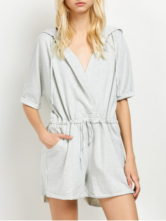 Rolled Cuffs Hooded Romper - GRAY M Mobile