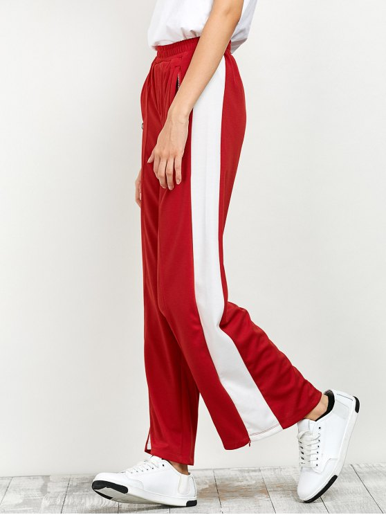 Side Band Wide Leg Pants - RED M Mobile