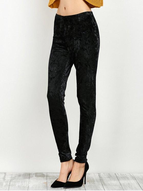 Stretchy Velour Narrow Feet Pants - BLACK M Mobile
