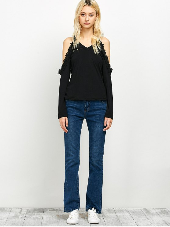 Lace Trim Cold Shoulder Tee - BLACK XL Mobile