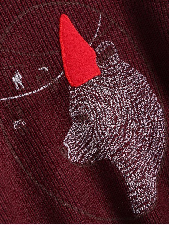 Bear Jacquard Sweater - BURGUNDY ONE SIZE Mobile