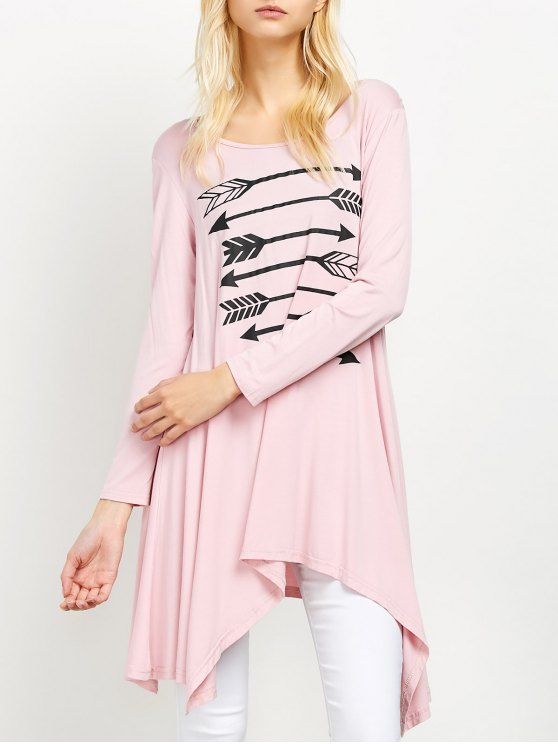 women Long Sleeve Arrow Print Tee - PINK XL