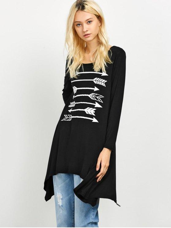 Long Sleeve Arrow Print Tee - BLACK XL Mobile
