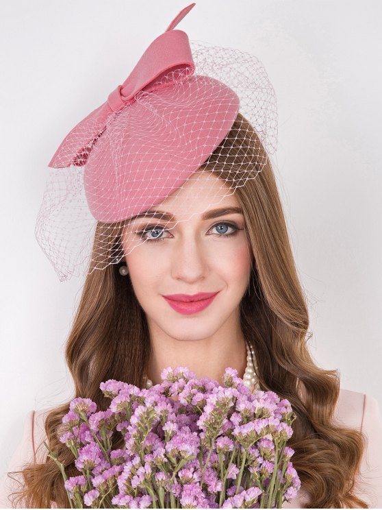 Bowknot Mesh Yarn Cocktail Hat - PINK  Mobile