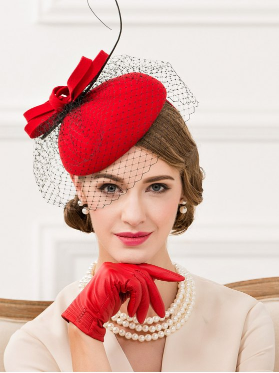Feather Bowknot Mesh Cocktail Hat -   Mobile