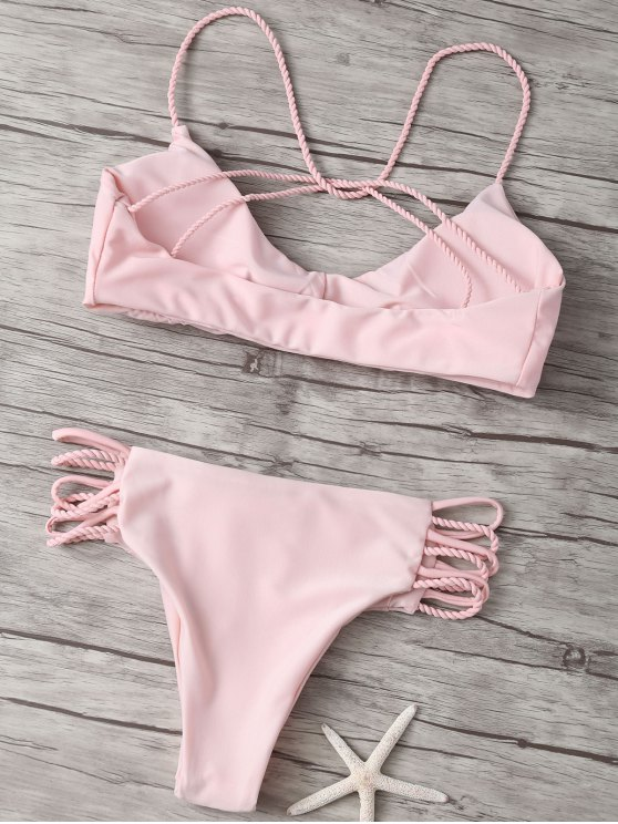 Strappy Cross Criss Bikini Set - PINK L Mobile
